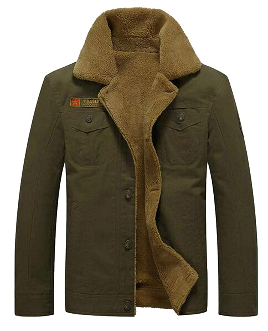 Fensajomon Men Winter Thick Faux Fur Lined Button Up Quilted Jacket Parka Coat Outerwear