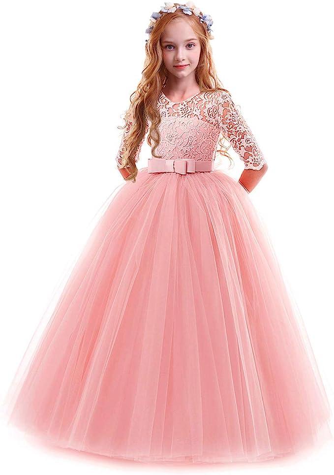 IWEMEK Vestidos de Princesa Fiesta de la Boda de Las Niñas 3/4 ...