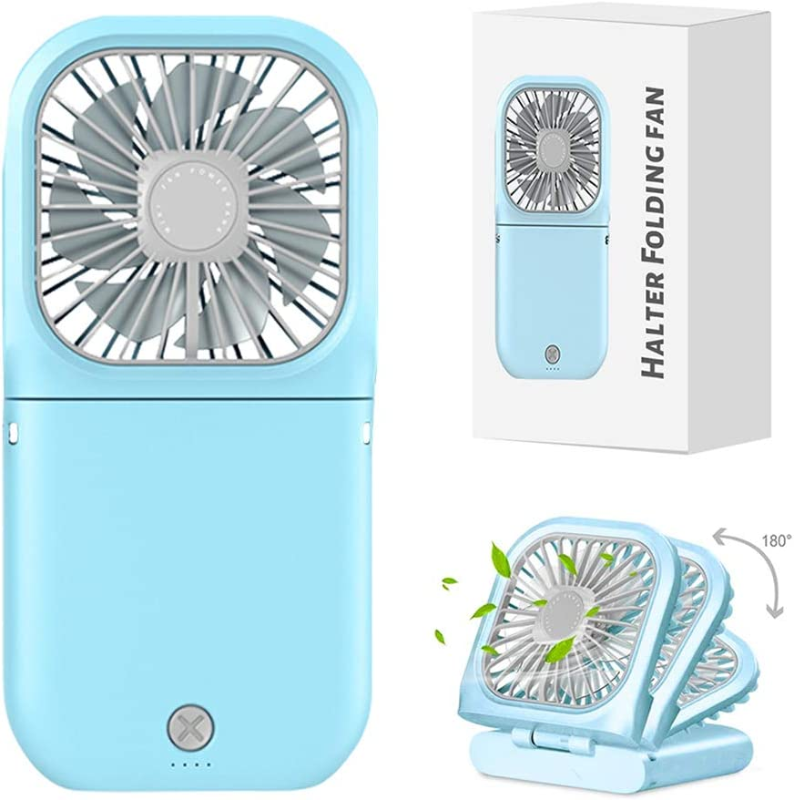 Quiet Personal Fan, Portable Hands Free Neck Fan,Adjustable USB Rechargeable Small Fan 3000mAh Power Bank Personal Neck Fan with 3 Speeds Handheld Fan for Travel Sports, Home, Office and School