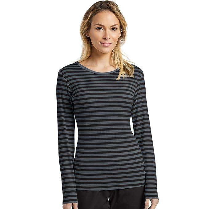257ac0330d772e Oasis by White Cross Women s Long Sleeve Striped Underscrub T-Shirt X-Small  Black