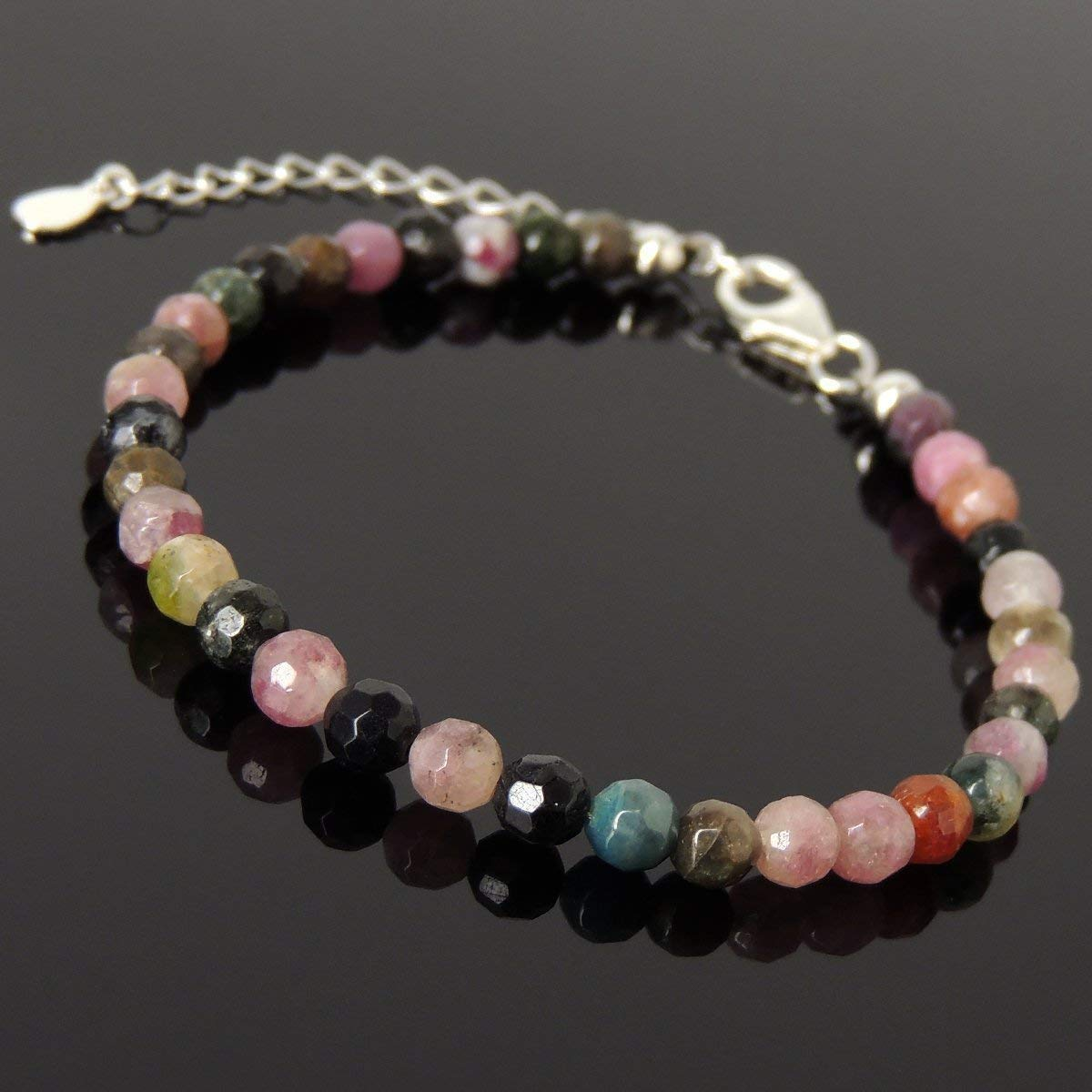 Men and Women Bracelet Handmade with 5mm Natural Faceted Multi-color Tourmaline and Genuine 925 Sterling Silver Beads, Clasp with Link
