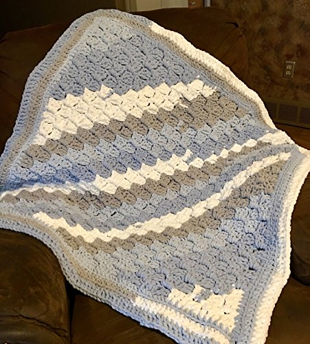 Kay Stripe - Kay's Crochet Chunky Baby Boy Blue Blanket Stripes