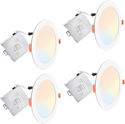 Lightdot Led Recessed Lighting 6 Inch, 3000K/ 4000K/ 5000K Canless LED Recessed Light fixtures with Junction Box, Dimmable 12W 1050LM(Eqv 100W) Can-Killer Downlight, IC Rated - 4 Pack