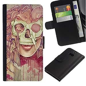 EuroTech - HTC One M8 - Scull Deep Dark Goth Lady Painting Meaning - Cuero PU Delgado caso Billetera cubierta Shell Armor Funda Case Cover Wallet Credit Card