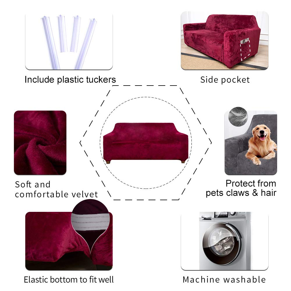 ACOMOPACK Velvet Sofa Cover Stretch Couch Cover for 2 Cushion Couch Cover Sofa Slipcover with Plastic Tuckers and Side Pocket for Living Room Furniture Protector for Dogs(Loveseat, Wine red)