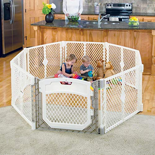 """Toddleroo by North States Superyard Ultimate 8-Panel Play Yard: Safe play area for indoors/outdoors. Folds up with carrying strap for easy travel. Freestanding. 34.4 sq.ft. enclosure (26"""" tall, Ivory)"""