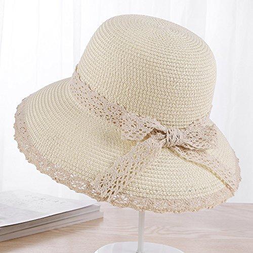 A lo largo de la visera del sombrero de paja lace sol de verano pueden  plegarse e5b0085c371