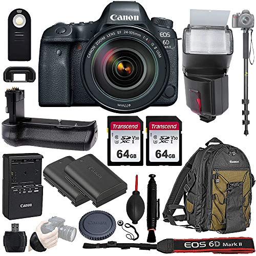 Canon EOS 6D Mark II Wi-Fi DSLR Camera Body with EF 24-105mm f/4L is II USM Lens - Pro Battery Grip, TTL Flash, Canon Pro Backpack, 128GB Memory, and More. Complete Professional Bundle (19 Items)