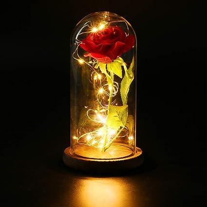 Funpa Rosa Eterna Rosa La Bella E La Bestia Rose Incantate Con Luci Led Regali Magici Decorazioni Per Festa Della Mamma San Valentino Anniversario Di