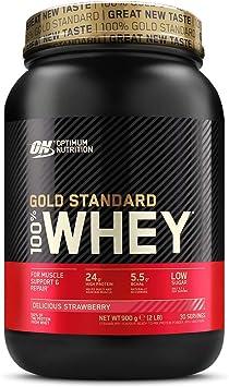 Oferta amazon: Optimum Nutrition ON Gold Standard 100% Whey Proteína en Polvo Suplementos Deportivos, Glutamina y Aminoacidos, BCAA, Fresa Deliciosa, 30 Porciones, 900 g, Embalaje Puede Variar