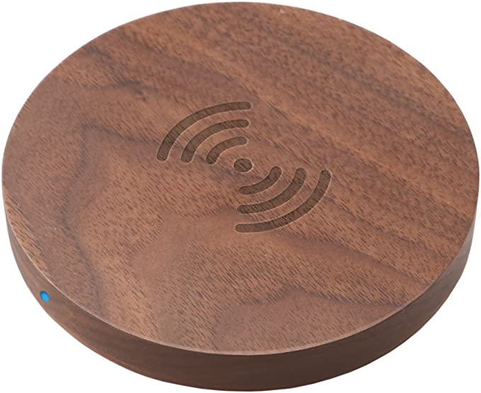 Wireless Charger,Walnut Wooden Wireless Charger, Upgraded Standard QI Wireless Charging Pad for iPhone 88 Plus, iPhone X, Galaxy S8S8 Plus, Note 8,