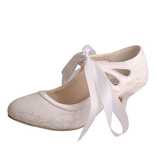 14206884843 Wedopus MG376 Women's Mary Jane Closed Toe Court Shoes Lace and Satin  Wedding Shoes for Bride Low Heel