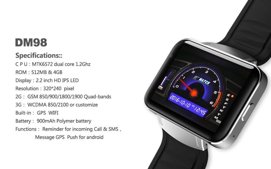 Android Smartwatches, Bestpriceam DM98 Bluetooth 3G Android Smart Watch SIM Phone 4GB Front Camera Dual Core (Silver)