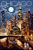 Chicago, Illinois - Skyline at Night (9x12 Art Print, Wall Decor Travel Poster)