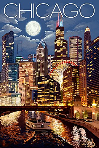 Chicago Gift (Chicago, Illinois - Skyline at Night (12x18 Art Print, Wall Decor Travel)