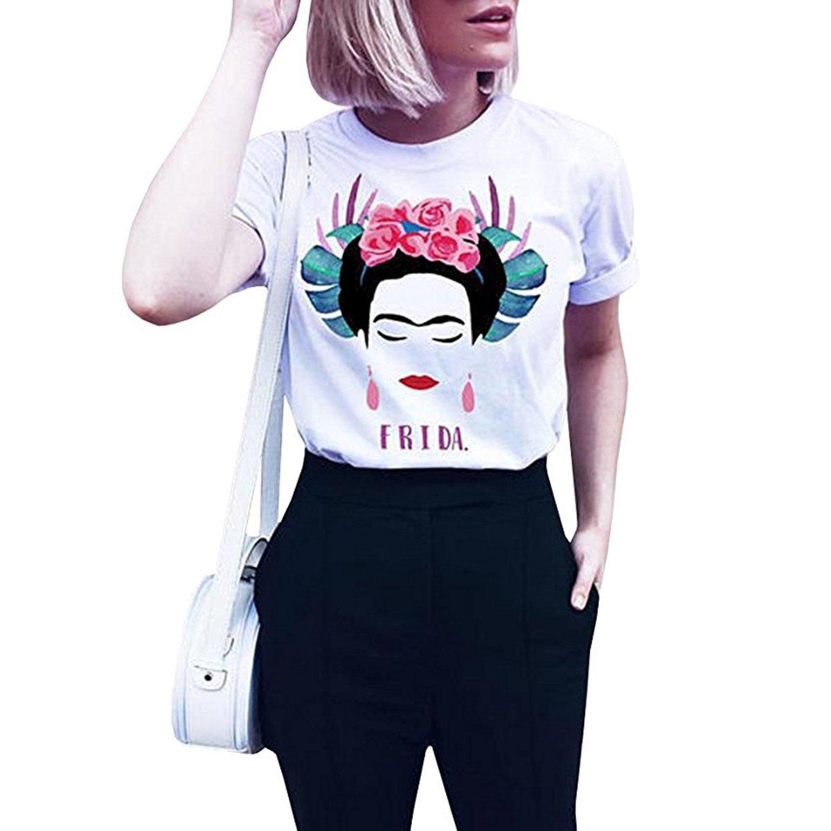 Wefchogvr T-Shirt Estiva a Manica Corta Personalizzata da Donna Frida Kahlo