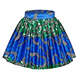Women African Tribal Style Floral Print Skirt Mini Parachute Skirt Bubble Skirts Short Skirts Green M