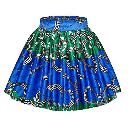 Editha Women African Tribal Style Skirt Floral Print Mini Parachute Skirt Bubble Skirts Short Skirts Green (Short Bubble Skirt)