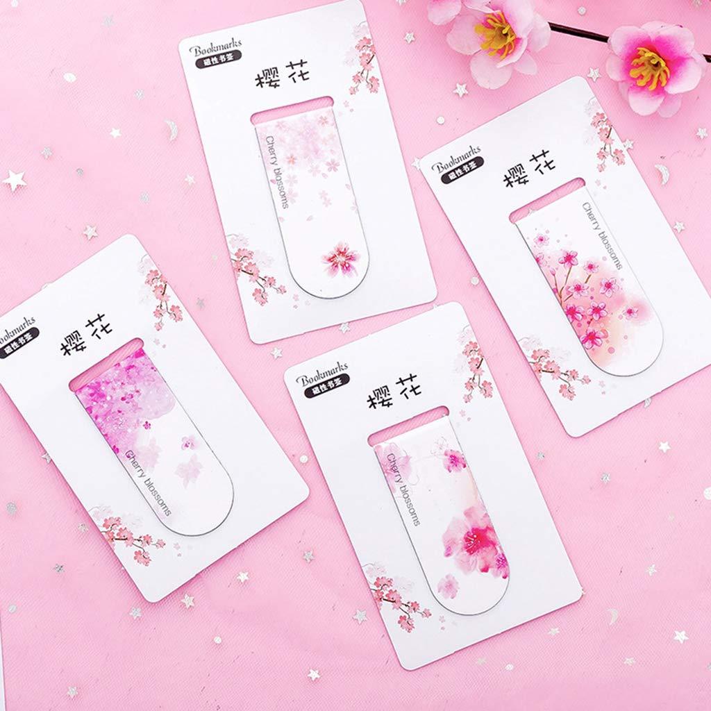 WINJEE 4 pz//Set Cherry Blossoms Magnetico Segnalibro Libro Marker Page Clip Forniture per Ufficio Studente di Cancelleria Collezione Souvenir Regalo dei Bambini