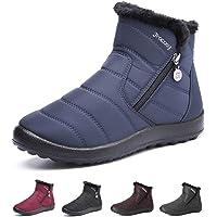 gracosy Bottes de Neige Femme Fille, Bottines de Pluie Imperméable Fourrure Chaude Boots Hiver Fourrée à Talons Plats Chaussures Ville Confortable Après Ski