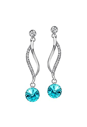 58646f103 Ananth Jewels Swarovski Elements Blue Crystal and Rhinestone Drop Dangle  Earrings for Women