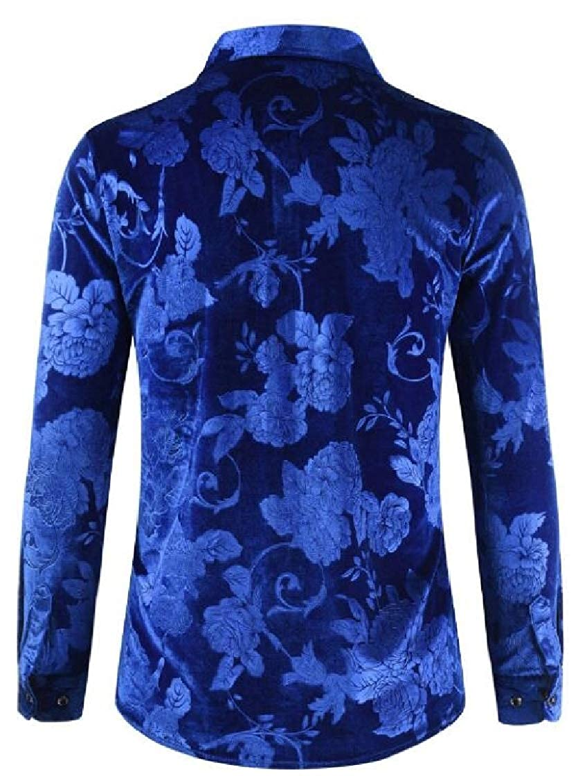 M/&S/&W Men Button Up Velvet Button Down Printing Stylish Long-Sleeves Dress Work Shirt