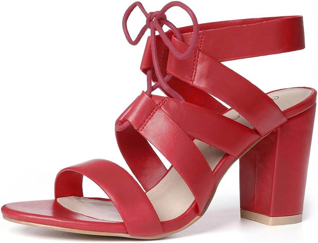 Allegra K Women's High Heels Cutout Lace Up Sandal