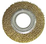 8'' Crimped Wire Wheel Brush, Arbor Hole Mounting, 0.014'' Wire Dia, 1-3/4'' Bristle Trim Length, 1 EA