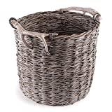 Weathered Gray and Beige Faux Antler and Rope Wrapped Handle Handwoven Decorative Basket