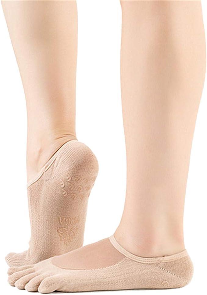 Meshen Anti-d/érapant Chaussettes de Yoga avec des Granules de Massage Antid/érapants pour Les Femmes Pilates Chaussettes Voyage Usage Domestique Ballet hospitalisation