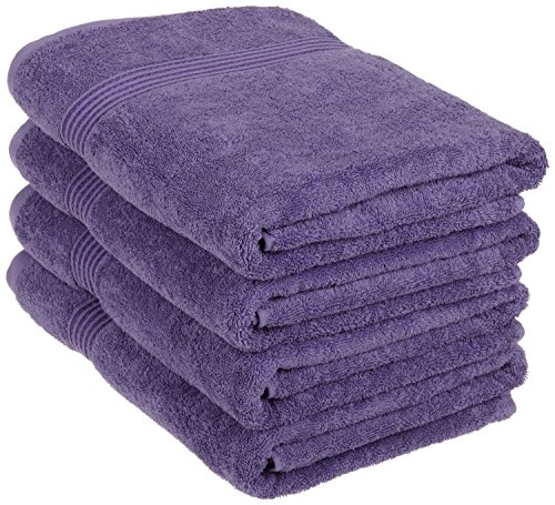 Superior Luxurious Soft Hotel & Spa Quality Bath Towel Set of 4, Made of 100% Premium Long-Staple Combed Cotton - Royal Purple, 30