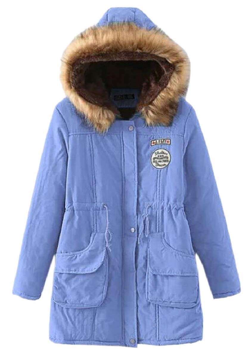6 US XSmall SodossnyAU Womens Hoodies Safari Faux Fur Collar Drawstring Fleece Military Parka Coat