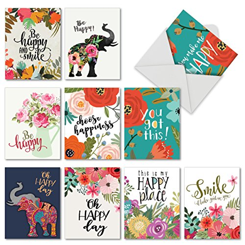M6631OCB Optimisms: 10 Assorted Blank All-Occasion Note Cards Featuring Inspirational Sayings Combined with Bright and Colorful Floral Images, w/White Envelopes.