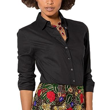 44563af1e Tidecc Women Office Shirt Long Sleeve Button Down Lapel Shirt Business Work  Shirt Blouse: Amazon.co.uk: Clothing