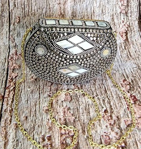 Decor Art International Silver Mosaic Beaded Metal Clutch Vintage Clutch Handmade Brass Purse Wallet ()