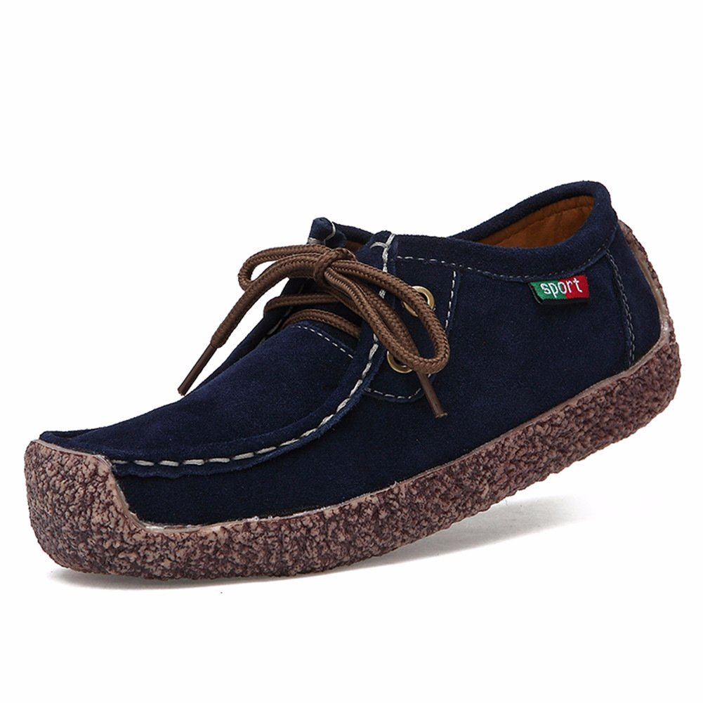 Women's Loafers Nubuck Leather Snail Shoes Lace up Casual Flats Fashion Sneakers Blue 9.5