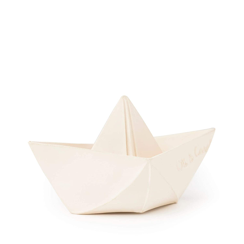Juguete para el Ba/ño Barco Origami Caucho Natural Color Blanco Oli/&Carol