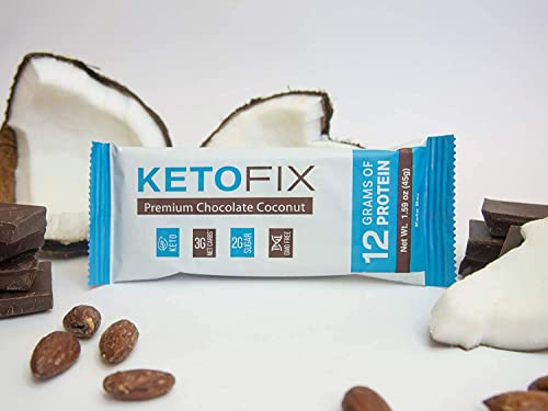KetoFix Keto Bars Box of 12 Premium Chocolate Coconut Bars Low Carb Snack No Sugar Added High Protein Rich in Ketogenic Fats Meal Replacement Gluten Free Keto Diet Friendly Bars