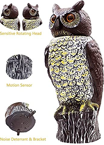 Scarecrow Owl Decoy with Rotating Head & Anti-Bird Noise, Mounting Bracket Included, Horned Owl Bird Control Repellent Deterrent, By Fedmax.