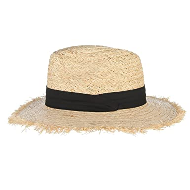 74c37a9b Summer Hats for Women, Fringe Tassel Raffia Straw Hat with Black ...