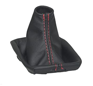 Gear Stick Gaiter with Plastic Frame Black Leather Blue S40 Embroidery