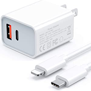 POWLAKEN for iPhone Fast Charger, USB C 18W Power Delivery QC 3.0 2 in 1 Fast Charger, USB C Charger for iPhone 12/12 Mini/12 Pro/12 Pro Max, iPad Pro, AirPods Pro, and More (White)
