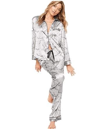 Victorias Secret The Afterhours Satin Pajama 2 Piece Set Silver Gray Bows Extra Large Regular