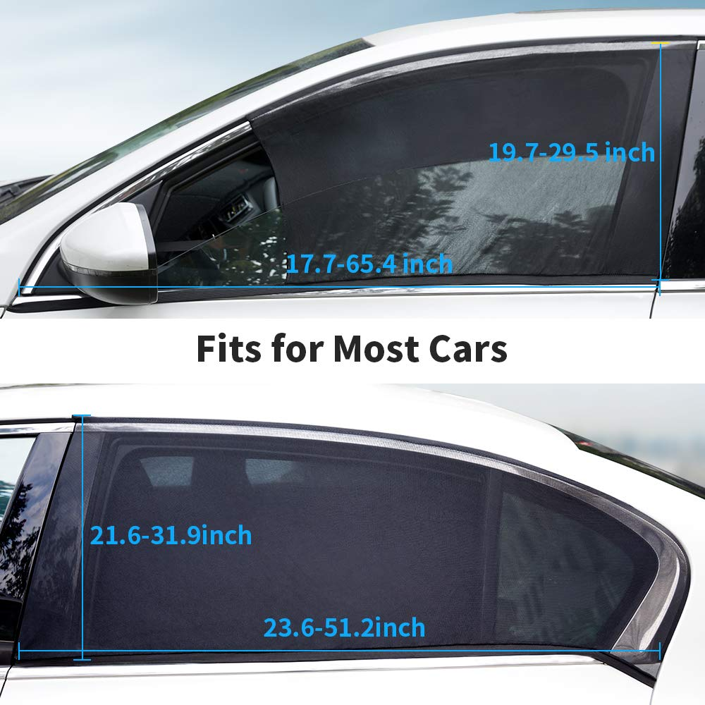 QUEES 4 Pack Car Window Sun Shade Breathable Mesh Car Rear Side Window Shade Fit for Most of Cars Protect Kids Pet from The Sun Cover Full Windows