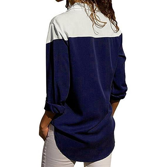 ❤ Modaworld Camisas con Botones Mujer Camisetas de Rayas de Manga Larga de Mujer Camisetas de Blusa Casual Camisas Elegante Fiesta niña: Amazon.es: ...