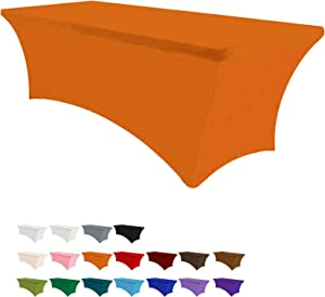 Eurmax 5Ft Rectangular Fitted Spandex Tablecloths Wedding Party Table Covers Event Stretchable Tablecloth (Orange)