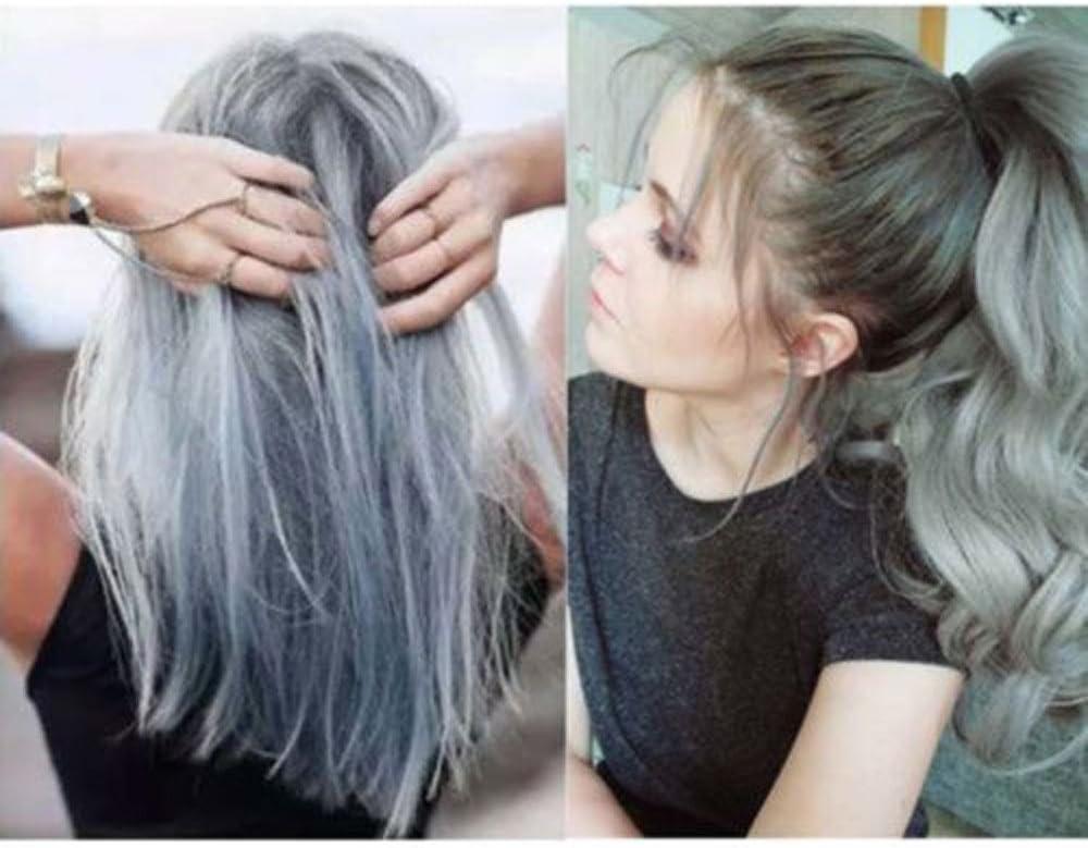 BaZhaHei moda permanente punk tinte para el cabello gris claro color plata crema 100ml GO ON Crema para el cabello gris de la abuela Belleza de ...