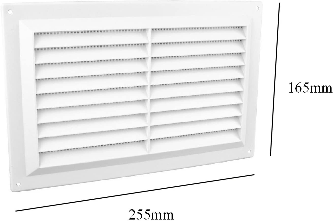LOUVRE FIXED SLOTTED  WHITE PLASTIC AIR VENT VENTILATOR WALL AIRING CUPBOARD