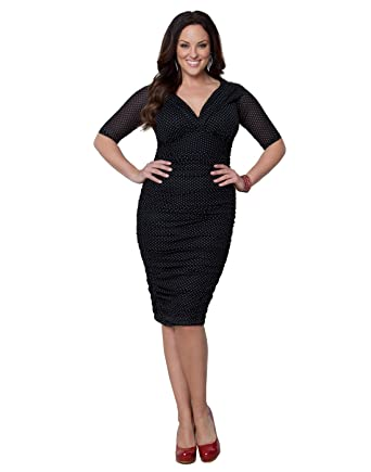 Kiyonna Women\'s Plus Size Betsey Ruched Dress 5X Black Pin Up Polka ...