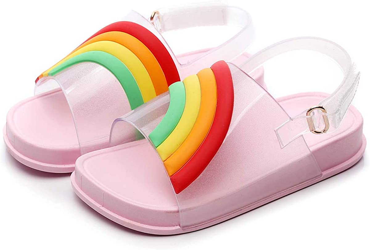 Kids Boys Girls Slip On Summer Beach Sandals Flat Casual Jelly Pumps Shoes Size